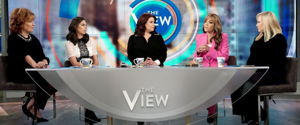 "PHOTO: The View"" co-hosts Joy Behar, Abby Huntsman, guest co-host Ana Navarro, and co-hosts Sunny Hostin and Meghan McCain react to Michael Bloombergs possible 2020 run, Nov. 8, 2019."