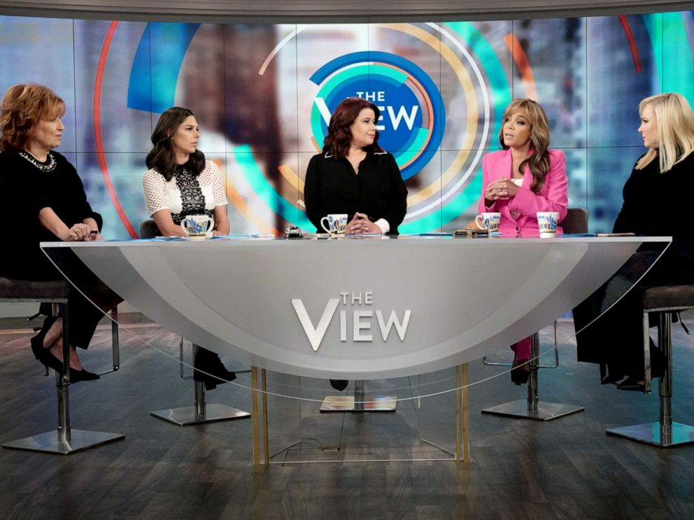 PHOTO: The View co-hosts Joy Behar, Abby Huntsman, guest co-host Ana Navarro, and co-hosts Sunny Hostin and Meghan McCain react to Michael Bloombergs possible 2020 run, Nov. 8, 2019.