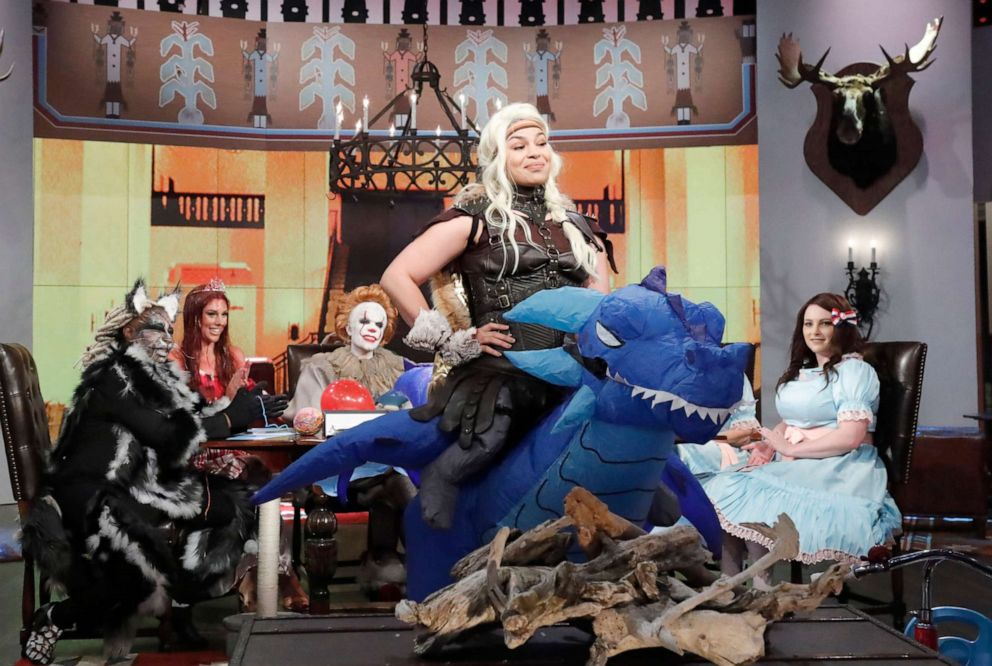PHOTO: Jordin Sparks on The View as Astrid and her dragon Stormfly from the movie How to Train Your Dragon on Thursday, Oct. 31, 2019.