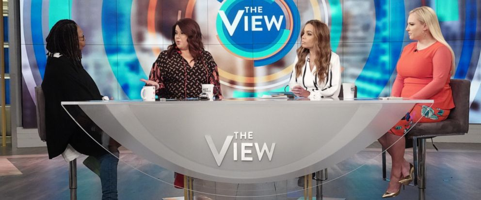 """PHOTO: """"The View"""" co-hosts Whoopi Goldberg, Ana Navarro, Sunny Hostin, and Meghan McCain on Monday, June 10, 2019, discussing the possible backlash Biden could receive after reversing his stance on the Hyde Amendment."""