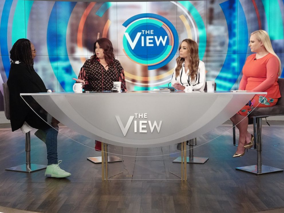 PHOTO: The View co-hosts Whoopi Goldberg, Ana Navarro, Sunny Hostin, and Meghan McCain on Monday, June 10, 2019, discussing the possible backlash Biden could receive after reversing his stance on the Hyde Amendment.