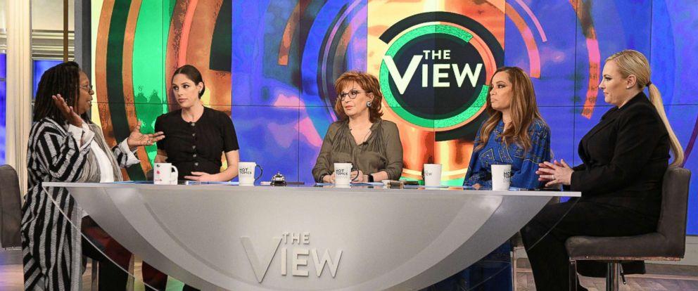 "PHOTO: Whoopi Goldberg, Abby Huntsman, Joy Behar, Sunny Hostin and Meghan McCain host ABCs, ""The View,"" on March 18, 2019."