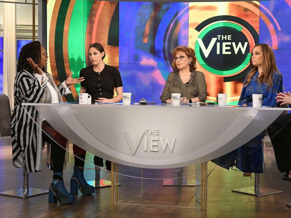 PHOTO: Whoopi Goldberg, Abby Huntsman, Joy Behar, Sunny Hostin and Meghan McCain host ABCs, The View, on March 18, 2019.