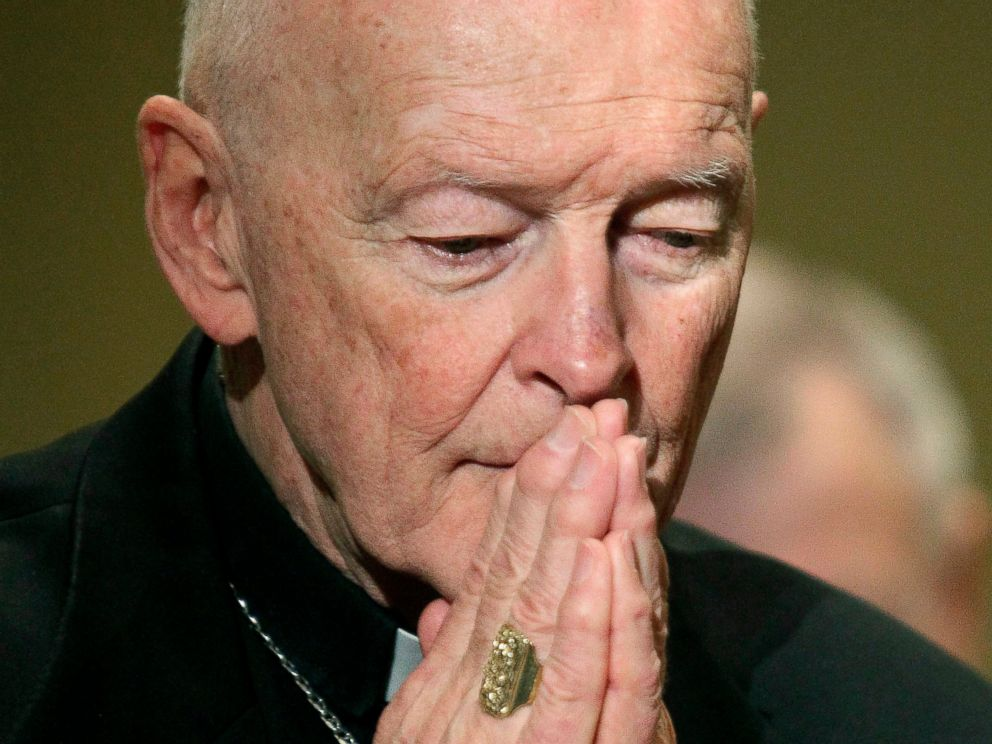 PHOTO: In this Nov. 14, 2011, file photo, then Cardinal Theodore McCarrick prays during the United States Conference of Catholic Bishops annual fall assembly in Baltimore.