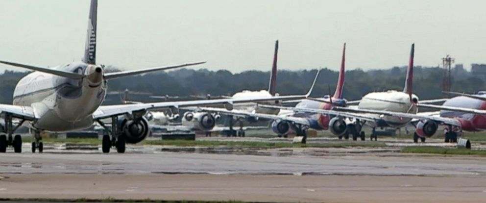 PHOTO: Airplanes await departure at Hartsfield–Jackson Atlanta International Airport in Atlanta.