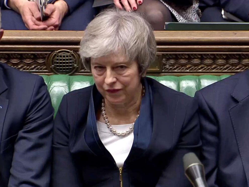 PHOTO: Prime Minister Theresa May in Parliament after the vote on the Brexit deal in London, Jan. 15, 2019.