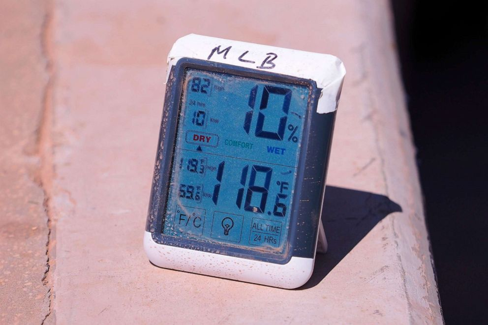 PHOTO: Field level thermometer indicates a warm day for the MLB game between the Atlanta Braves and the Washington Nationals on Sept. 8, 2019, at SunTrust Park in Atlanta, Georgia.