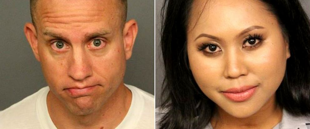 PHOTO: William Thomas, left, and Marisha Sporer, employees of Republic Airways, were arrested after getting into a fight at Denver International Airport, Sept. 14, 2019.