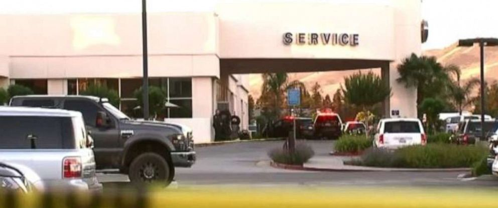 PHOTO: Three people, including a suspect, died from gunfire at a car dealership in Northern California on Tuesday.