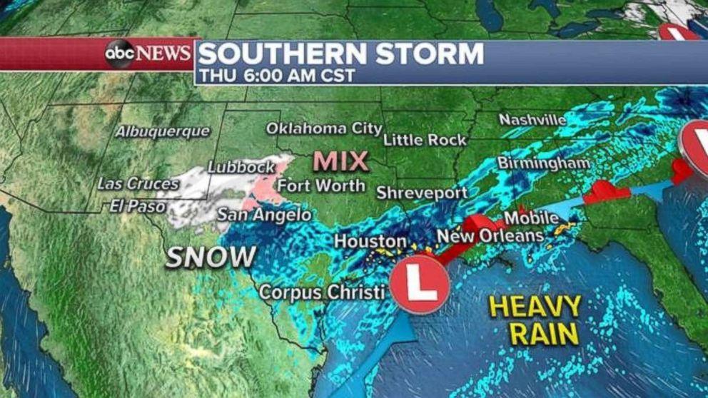 PHOTO: Heavy rain will move into the entire Gulf Coast region by Thursday.