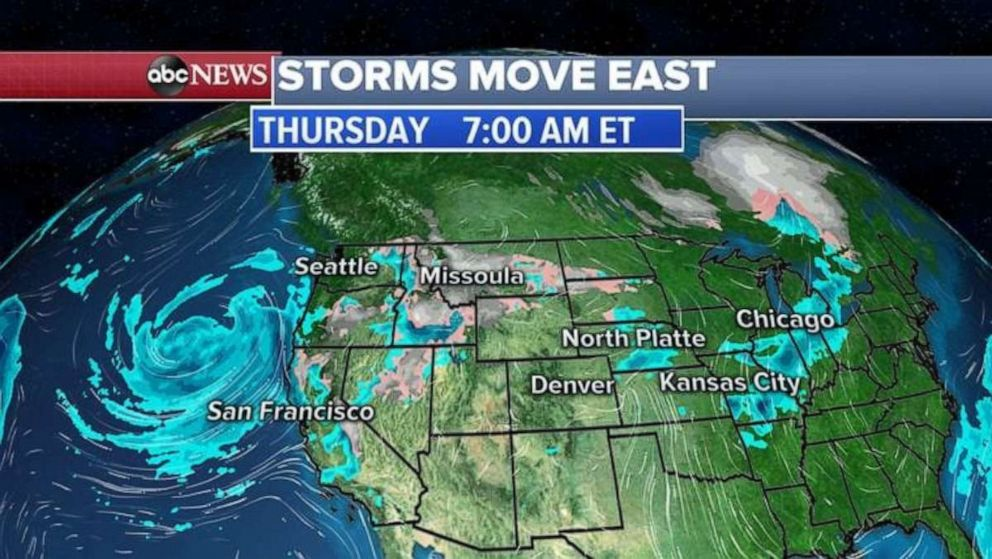Rain will move into the central U.S. over the next couple days.
