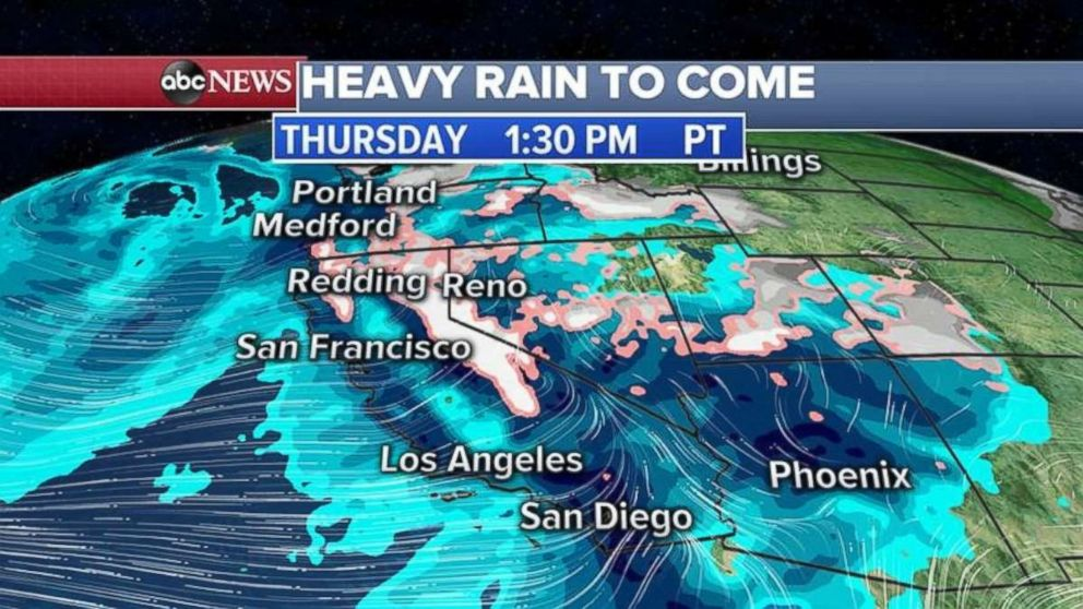 PHOTO: Rain will stretch from San Diego up to the Pacific Northwest on Thursday afternoon.