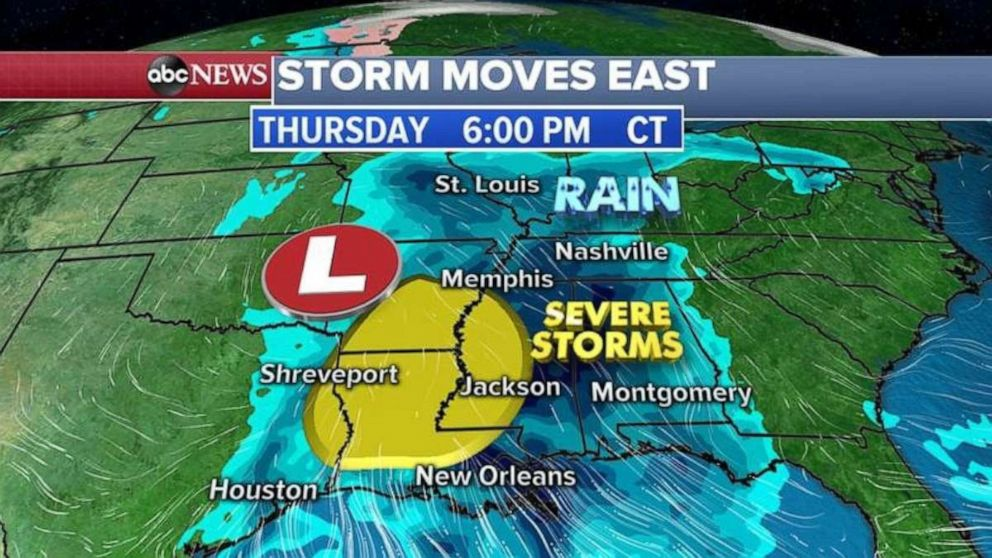 Severe storms are possible in the Deep South on Thursday evening.