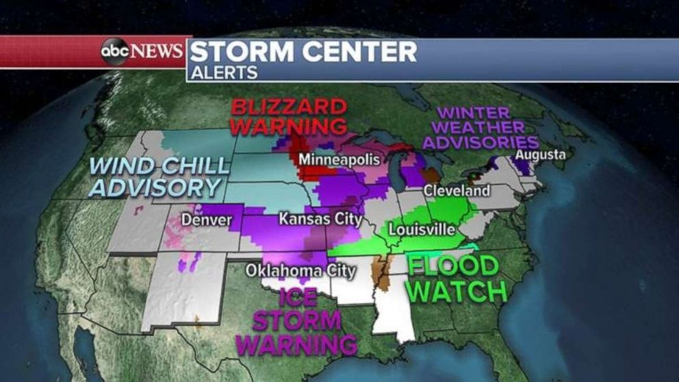 There are alerts in place across much of the U.S. on Thursday for snow, ice or rain.