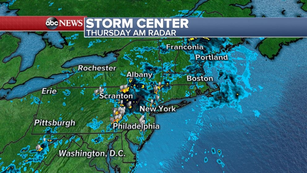 Showers and thunderstorms are moving through the Northeast on Thursday.