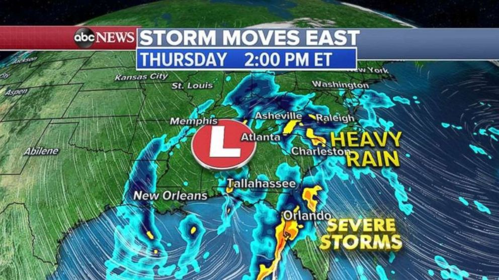 PHOTO: The storm in the south will combine with one from the west to deliver rain to much of the eastern U.S. beginning on Thursday.