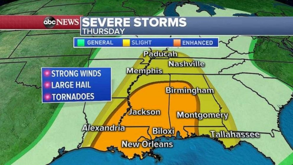 PHOTO: Strong winds, large hail and tornadoes are possible in the Deep South on Thursday.