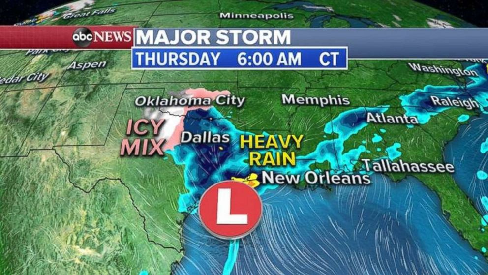 PHOTO: The storm is delivering heavy rain to eastern Texas and Louisiana on Thursday morning.