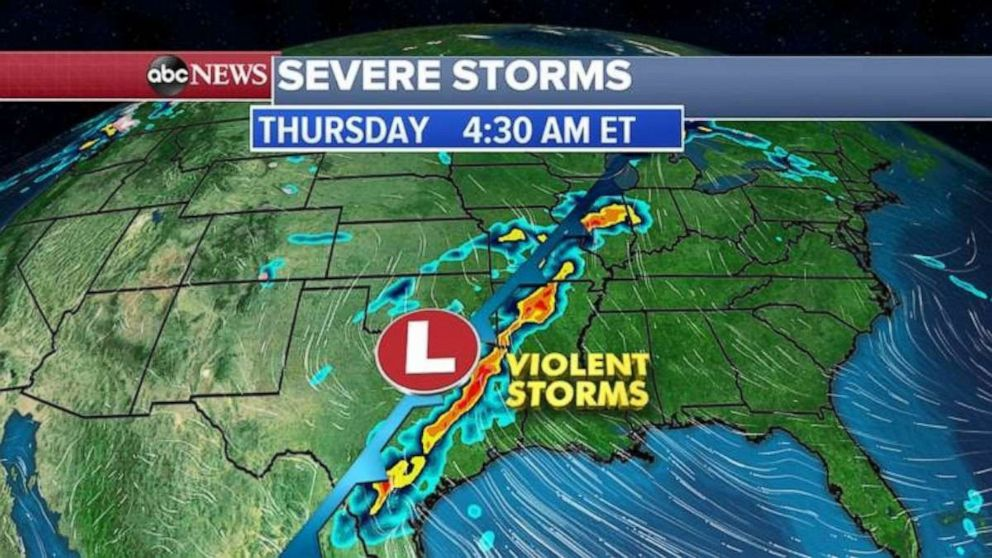 PHOTO: Violent storms were moving through eastern Texas and Arkansas on Thursday morning.