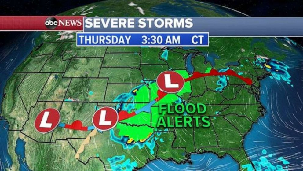 PHOTO: Flood alerts stretch from Texas to Michigan on Thursday.