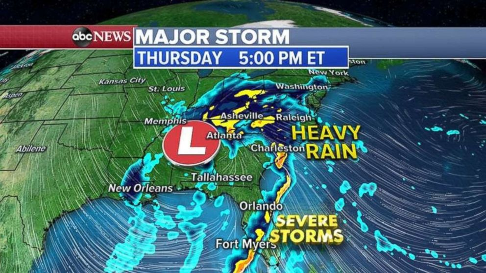 PHOTO: Heavy rain will move up the East Coast throughout the day Thursday.