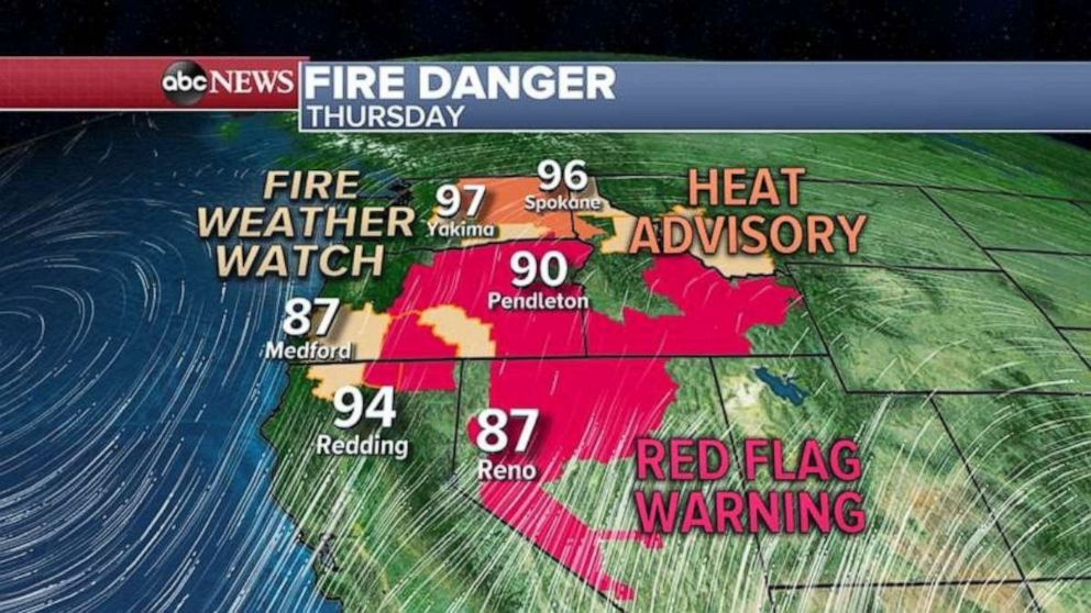 PHOTO: The fire danger is high in Nevada and Oregon on Thursday.