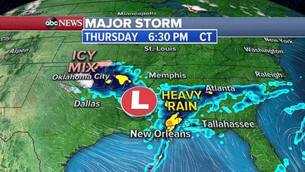 PHOTO: As an icy mix falls in Oklahoma, heavy rain will continue to slide east into Mississippi and Alabama on Thursday evening.