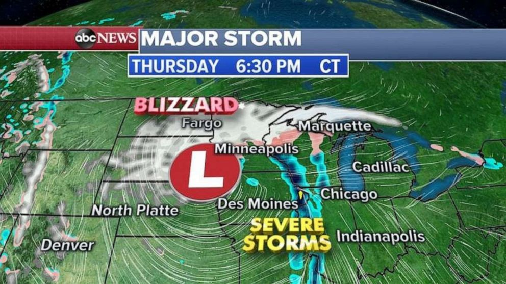 PHOTO: In addition to blizzard conditions in the Northern Plains, severe storms will move through Illinois and Indiana late Thursday.