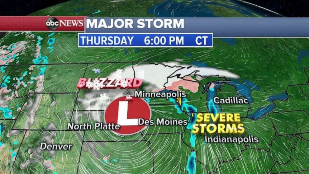 Minneapolis will be spared the worst of the storm, but parts of the Northern Plains will see over a foot of snow.