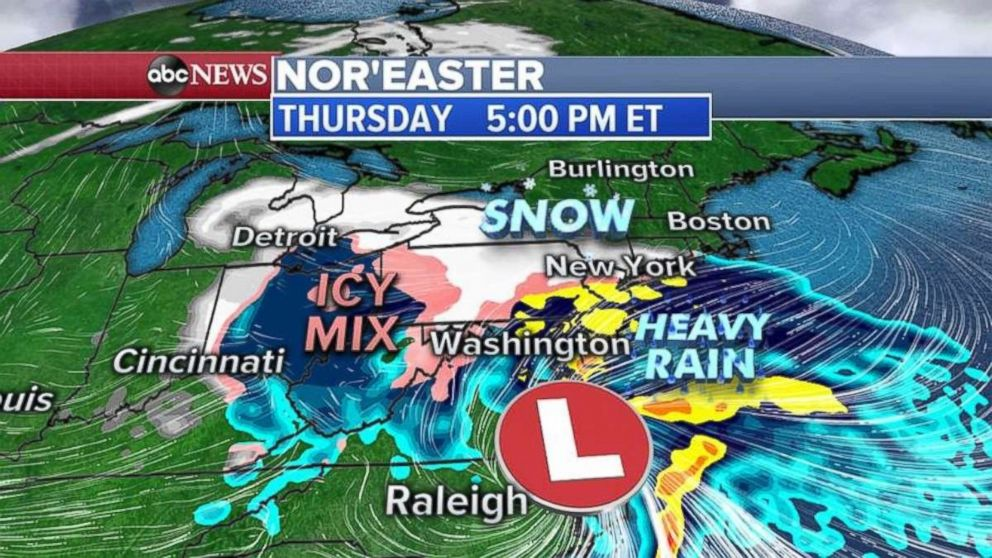 PHOTO: Snow will move into the Northeast on Thursday afternoon.