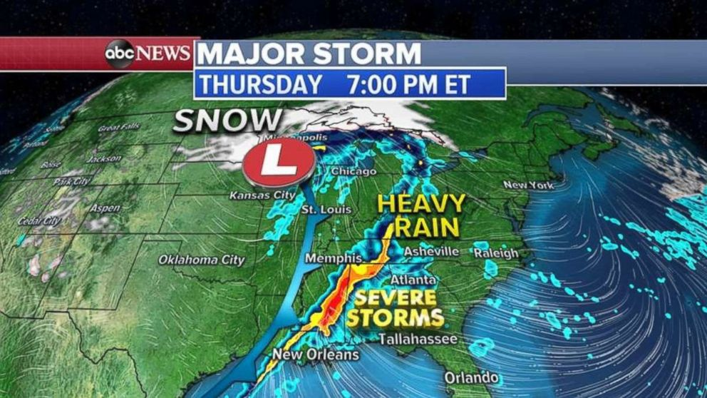 ABC News Severe storms will move through Louisiana Mississippi and Alabama by 7 p.m. on Thursday