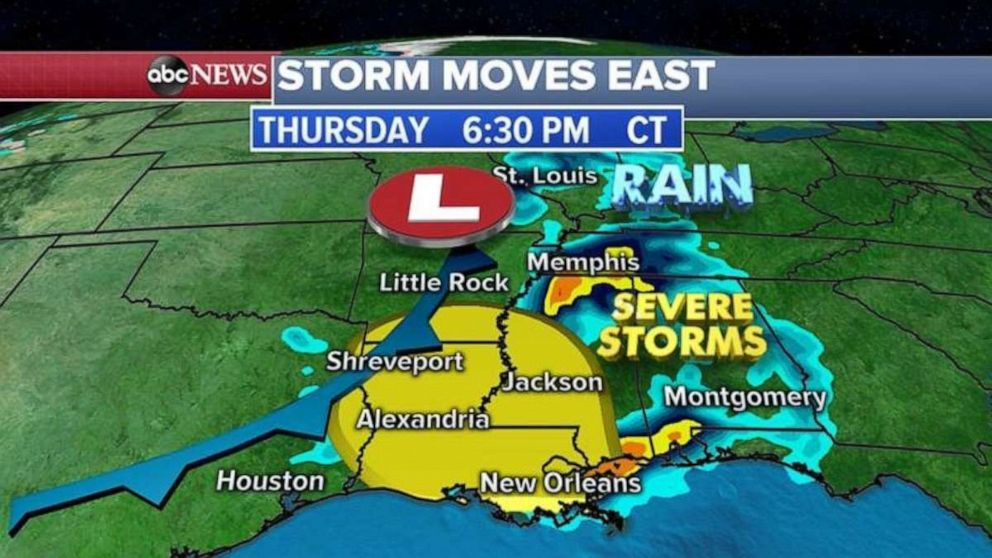 Severe storms are possible throughout Louisiana and western Mississippi on Thursday evening.