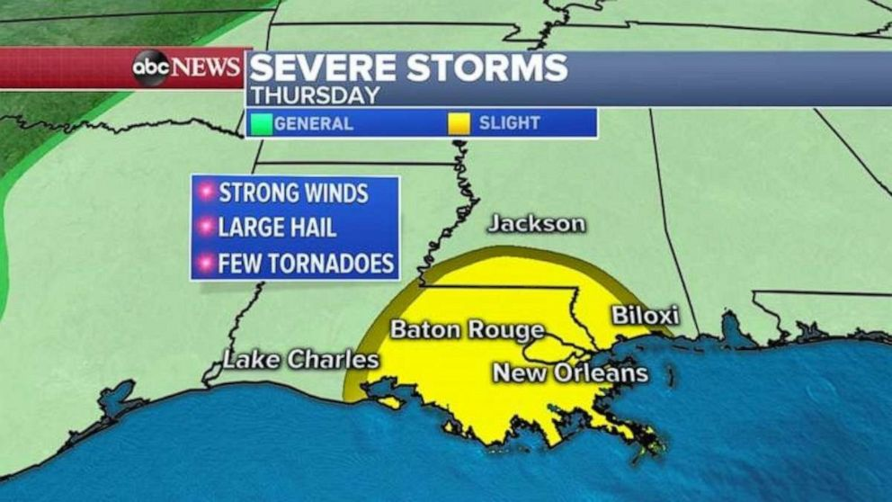 PHOTO: The threat for severe weather on Thursday covers all of eastern Louisiana, including New Orleans.
