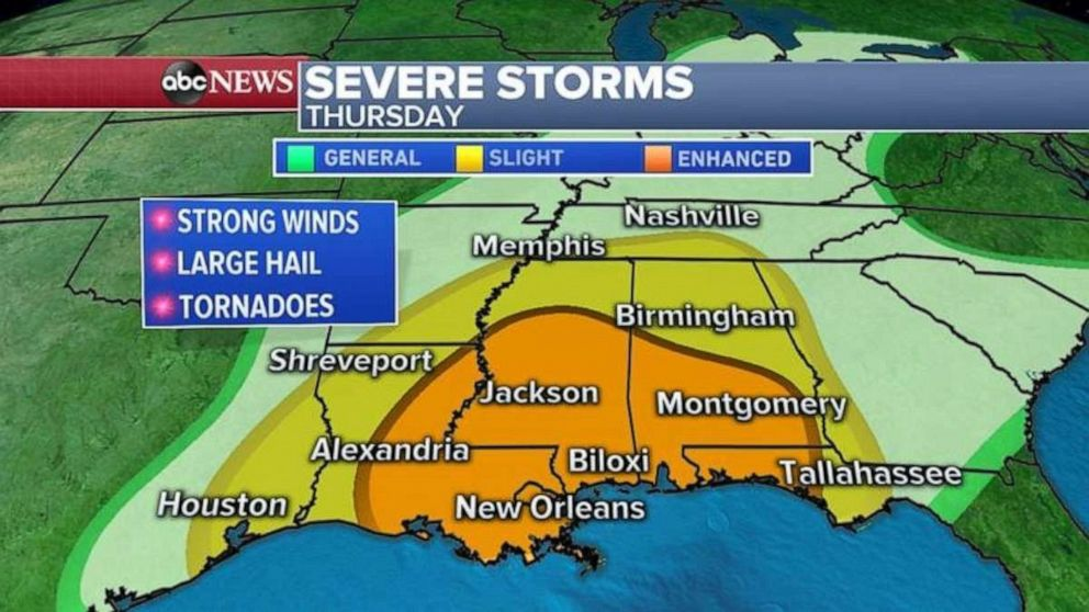 The threat of tornadoes is higher on Thursday along the Gulf Coast than on Wednesday.