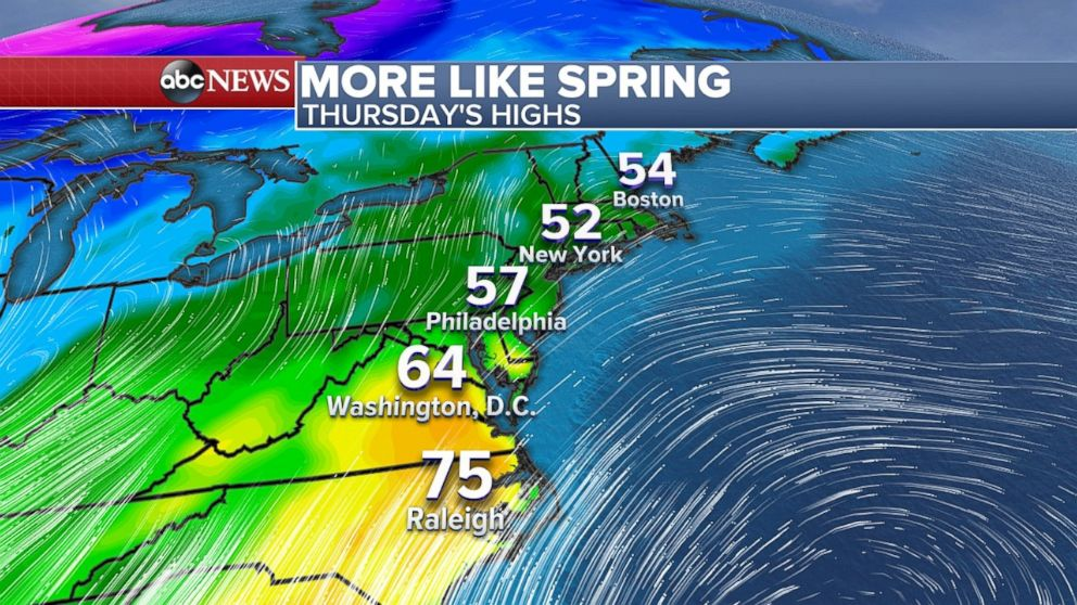 Temperatures will be in the 50s, 60s and 70s up and down the East Coast on Thursday.