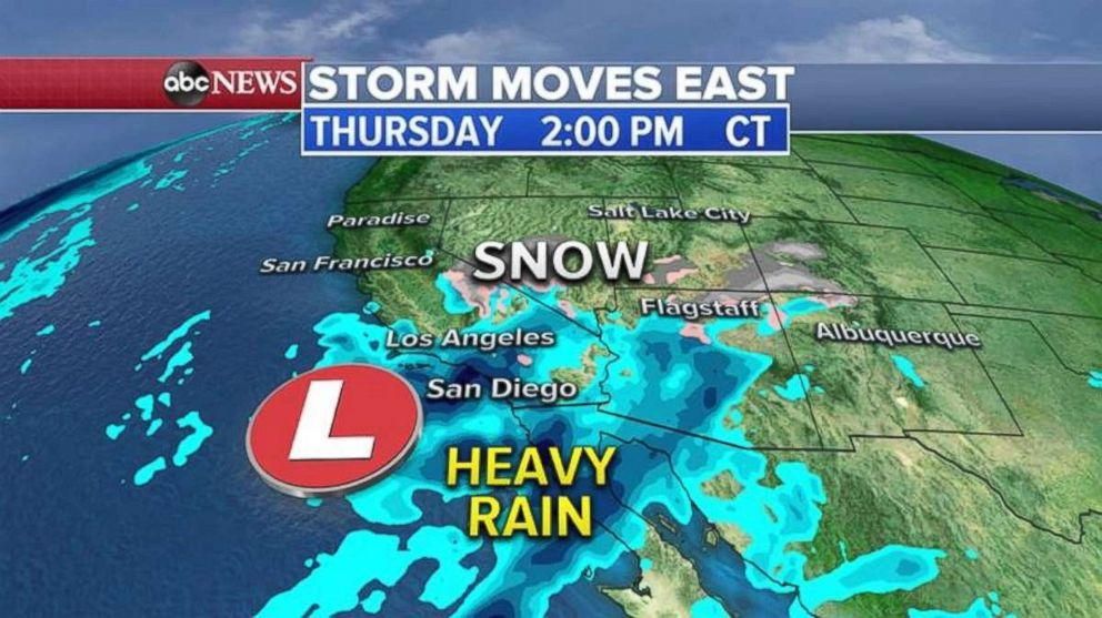 Heavy rain is falling in Southern California on Thursday.