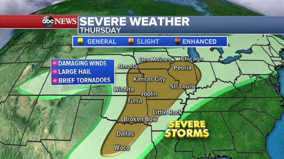 Severe storms will bring threats to major cities across the Great Plains on Thursday