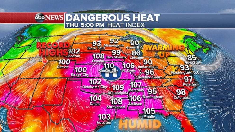 The heat index will be well over 100 throughout much of the Plains and into the South on Thursday.