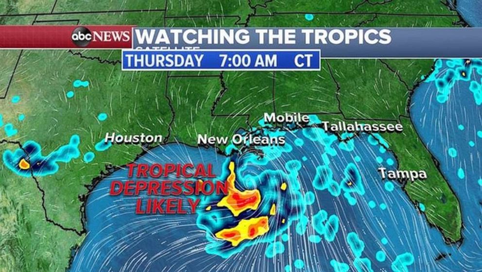 PHOTO: The system will most likely develop into a tropical depression by Thursday morning.