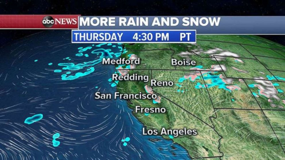 PHOTO: California will be getting a brief break from the rain on Thursday.