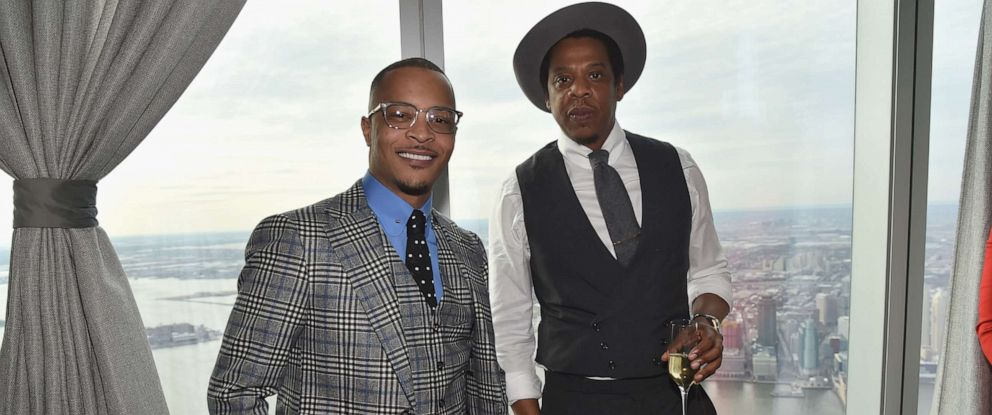 PHOTO: T.I. and Jay-Z attend Roc Nation THE BRUNCH at One World Observatory on Jan. 27, 2018 in New York City.