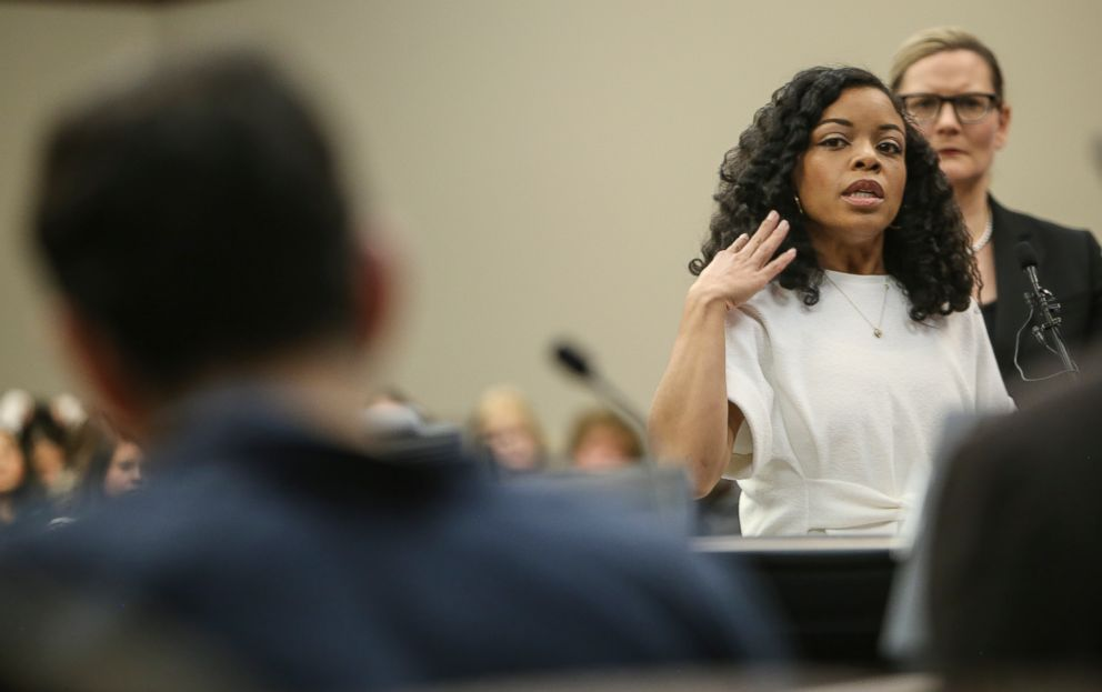 PHOTO: Tiffany Thomas Lopez addresses Larry Nassar, during the second day of victim impact statements regarding the former sports medicine doctor, who plead guilty to seven counts of sexual assault, Jan. 17, 2018.