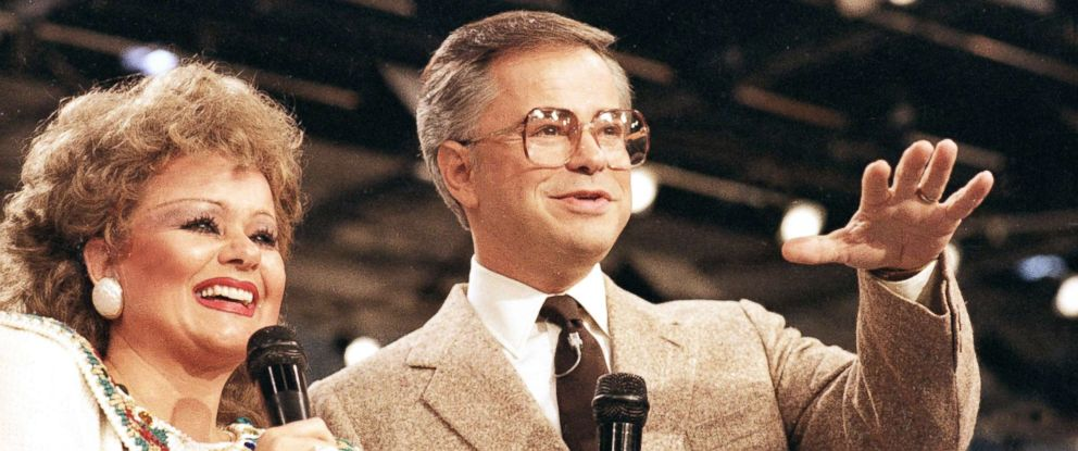 PHOTO: Tammy Faye Bakker and her then-husband, television evangelist Jim Bakker, talk to their TV audience at their PTL ministry near Fort Mill, S.C., in this Aug. 20, 1986 file photo.
