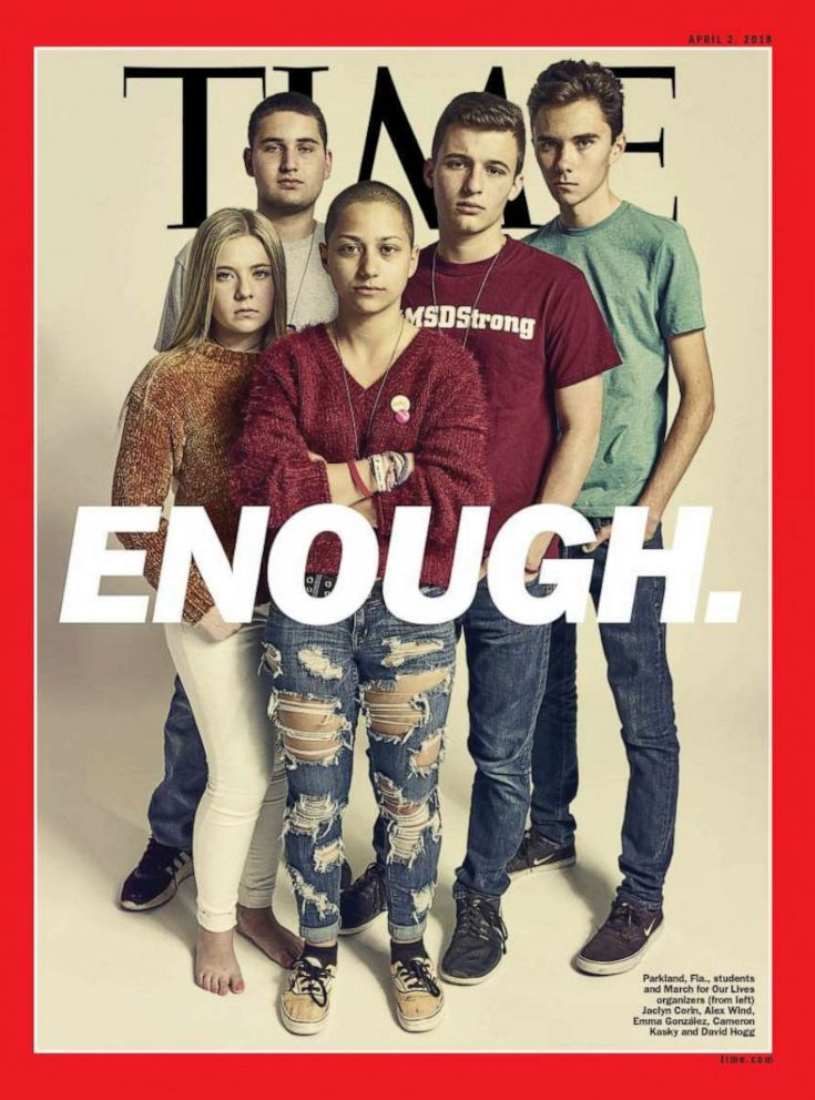 PHOTO: A TIME Magazine cover shows survivors of the Parkland shooting.