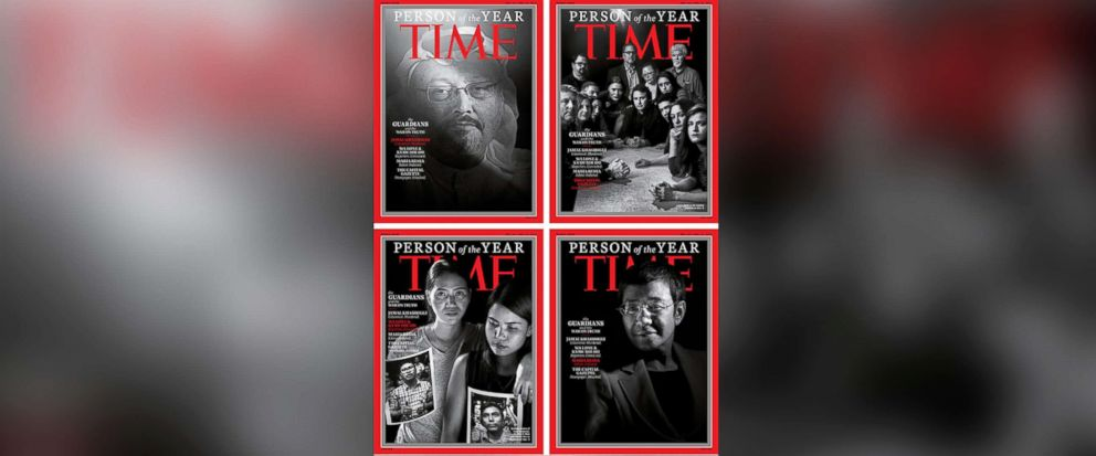 "PHOTO: This combination photo provided by Time Magazine shows their four covers for the ""Person of the Year,"" announced on Dec. 11, 2018."