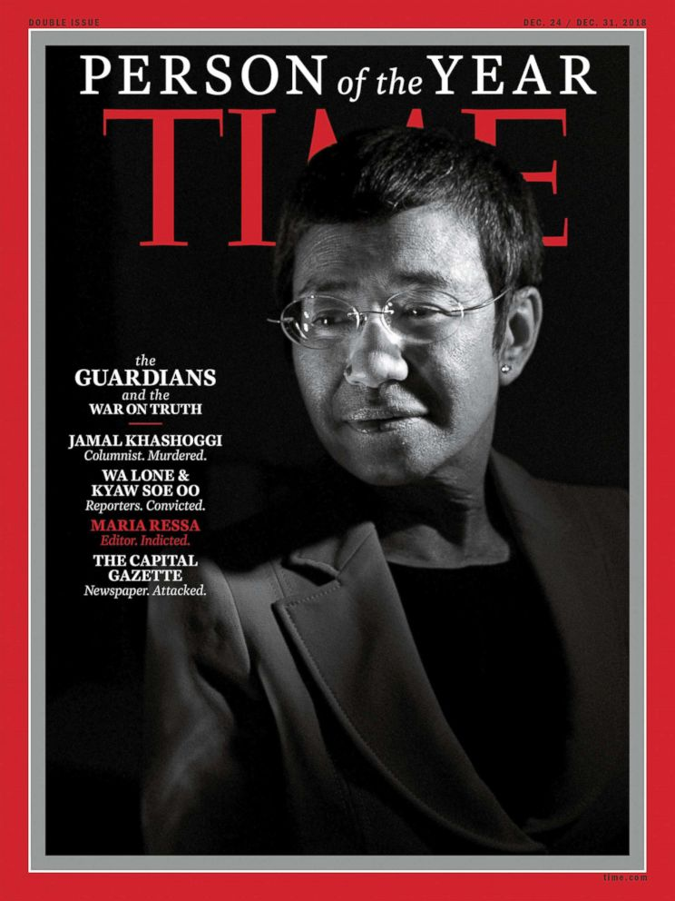 PHOTO: This image obtained on Dec. 31 2018, courtesy of Time magazine shows Philippine journalist Maria Ressa on one of four covers for Time magazine Person of the Year.