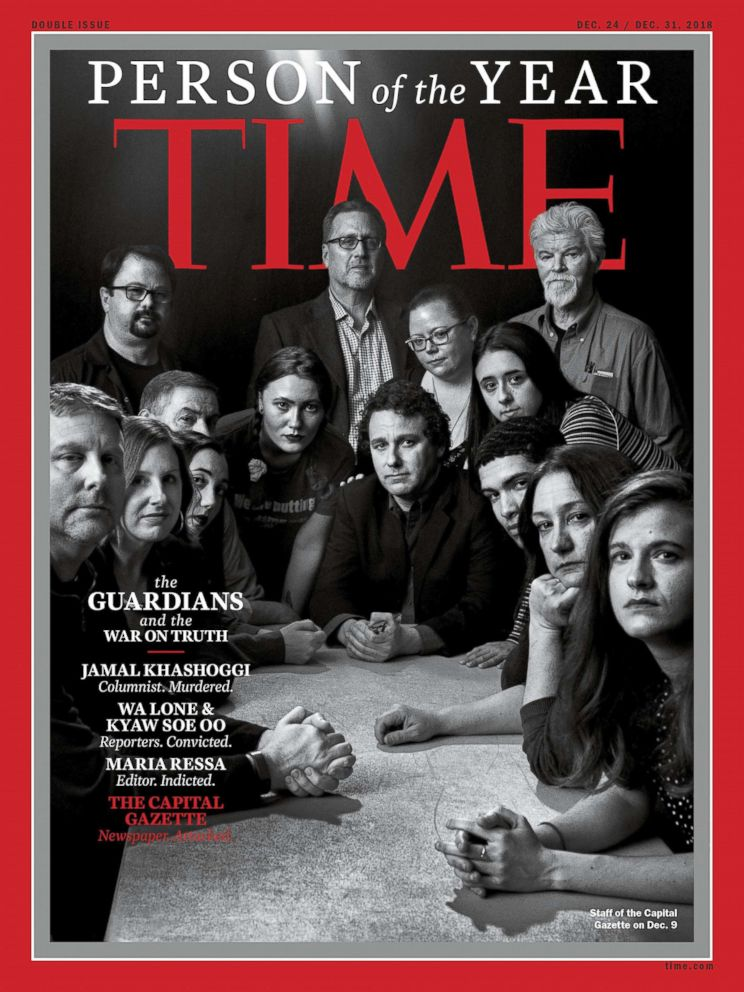 PHOTO: This image obtained on Dec. 11, 2018, courtesy of Time magazine shows the staff of the Capital Gazette in Annapolis, Md., on one of four covers for Time magazine Person of the Year.