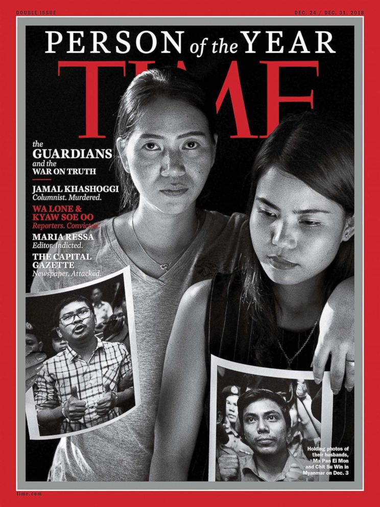 PHOTO: This image obtained on Dec. 11, 2018, courtesy of Time magazine features photos of Reuters reporters Wa Lone and Kyaw Soe Oo, currently imprisoned in Myanmar, on one of four covers for Time magazine Person of the Year.