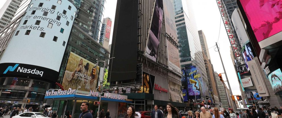 PHOTO: A new advertising board is installed on One Times Square on May 9, 2019 in New York City.