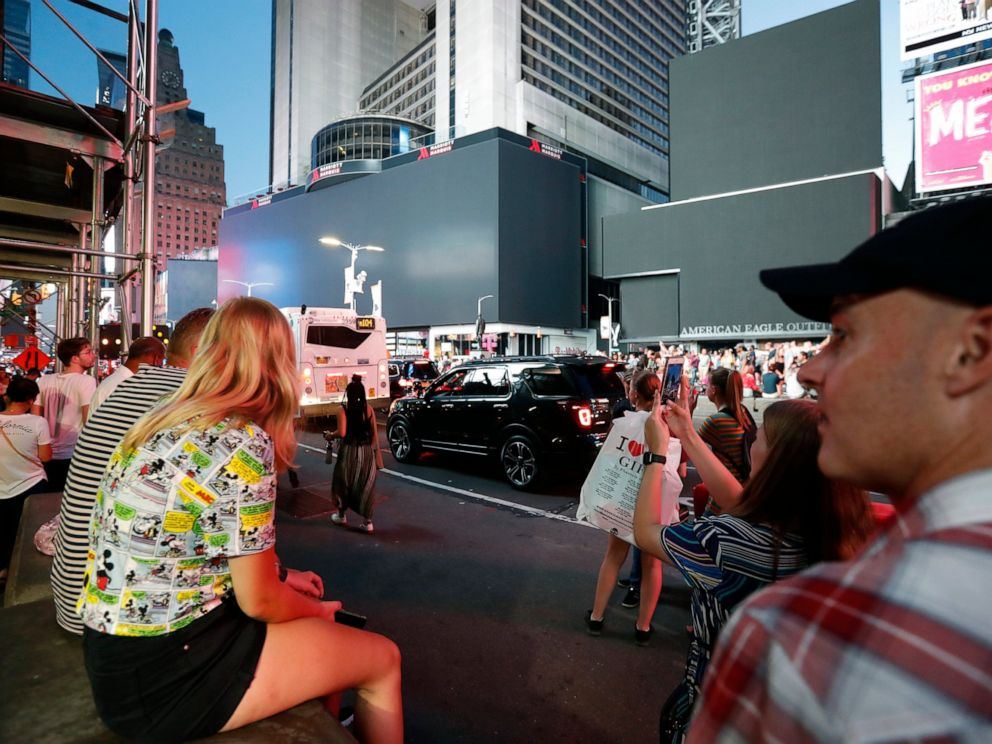 PHOTO: Screens in Times Square are black during a widespread power outage, Saturday, July 13, 2019, in New York.
